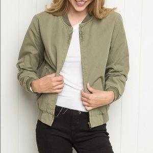 Brandy Melville Kasey Olive Bomber Jacket